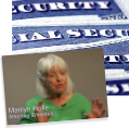 Screen capture of Marilyn Holle being interviewed. The image is overlayed on top of a Social Security card.