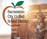 Logo for Sacramento City Unified School District overlayed over a photo of a bronze statue of Lady Justice.