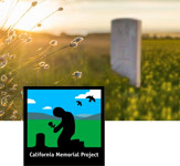 Photo of a lone stone monument in a large field of flowers with the sun setting behind it. The California Memorial Project logo is overlaid on top of image.
