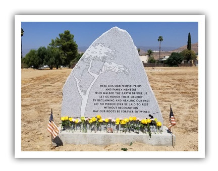 Photo of a monument for the California Memorial Project
