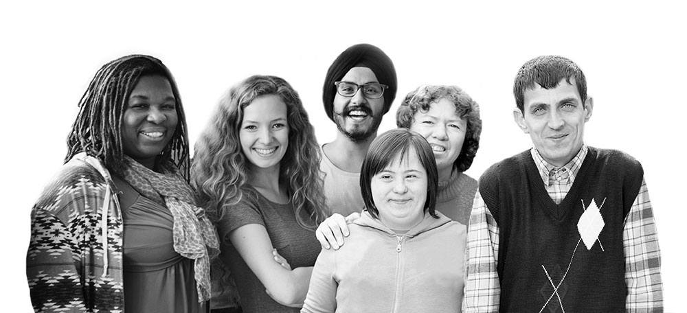 Photo of a group of people of different ethnic backgrounds. They also have different disabilities.