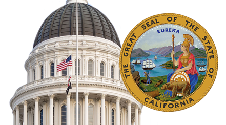 Image of the top of the California State Capital with the California state seal overlaid on top.