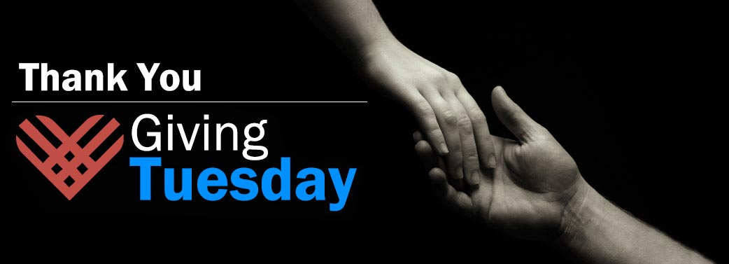 Thank You Giving Tuesday - A closeup photo of of a hand reaching out and holding anothers persons hand.