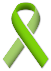 Graphic of a lime green ribbon in support of Mental Health Month.