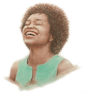 Drawing of a African American woman laughing.