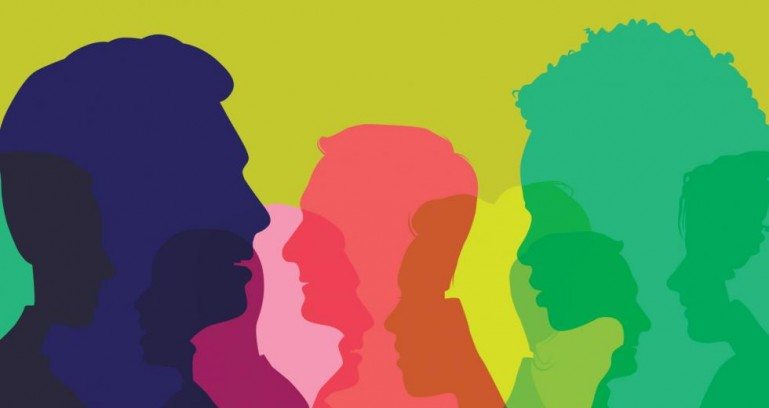 Colorful illustration of head silhouettes.