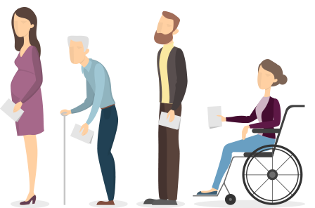 Illustration of four people in a line waiting to vote. The last person is a woman in a wheelchair.