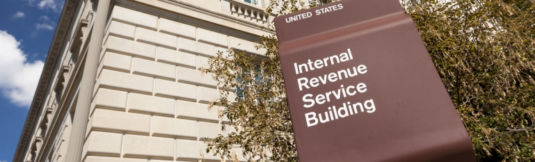 The front of the IRS building