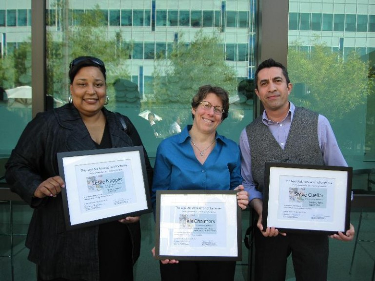 Photo of DRC clients receiving an award.
