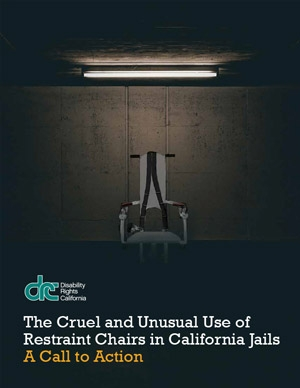 Cover of the report showing a lone restraint chair in a dark empty room.