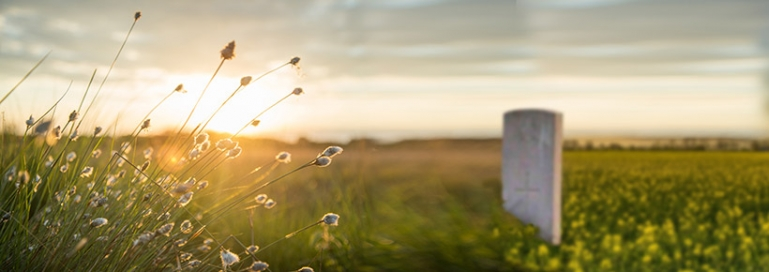 Photo of a lone tombstone in a grassy field as the sun sets.