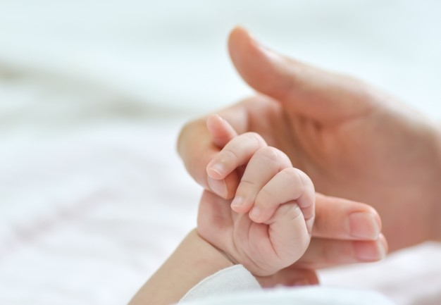 Stock photo: Close up photo of a baby's hand holding an adults finger.