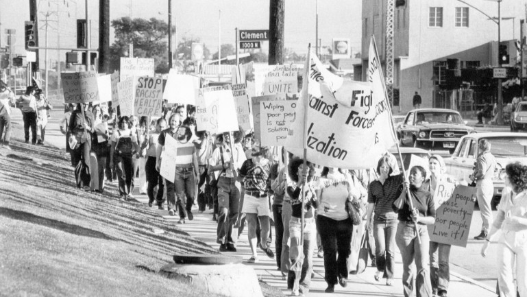 Photo of a 1974 protest against forced sterilization. (Los Angeles Times)
