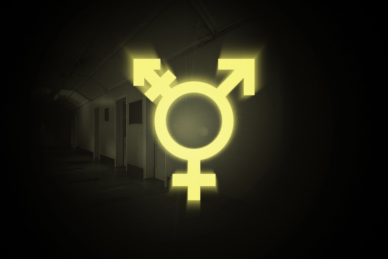 Photo of a dark looking corridor to a detention facility. The transgender symbol glows brightly slightly illuminating the scene.