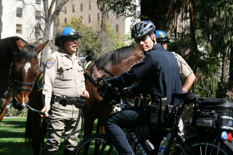 Photo of mounted police.