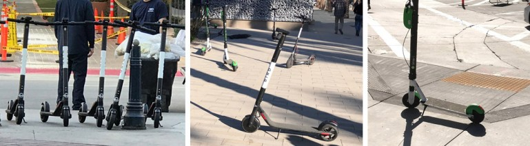 Three photos of scooters on city sidewalks blocking accessibility