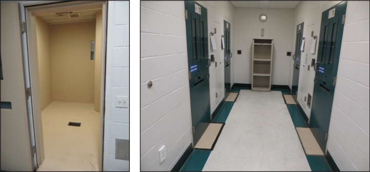 Side by side photos showing detention facility environment.